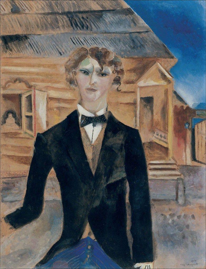 Marc Chagall, Autoritratto davanti a casa (1914) collezione privata