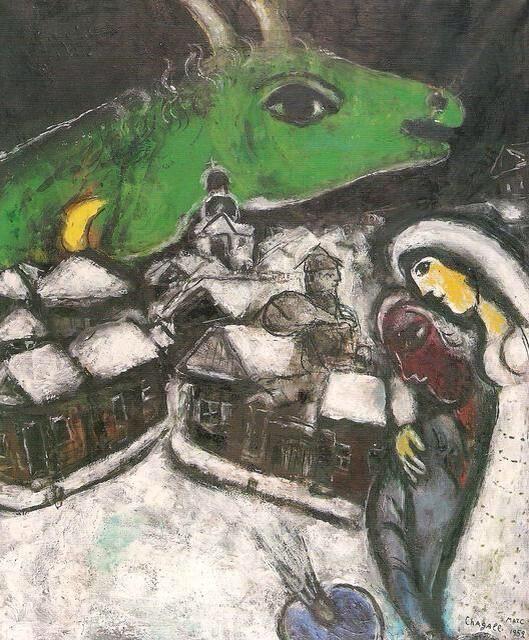 Marc Chagall, La notte verde (1952), collezione privata