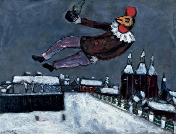 Marc Chagall, Uomo-gallo sopra Vitebsk (1925), collezione privata