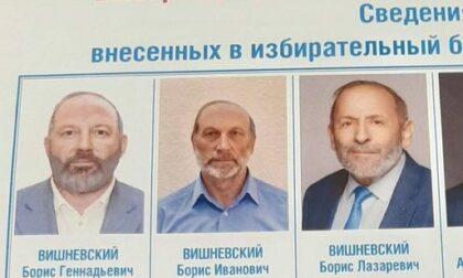 I candidati alle elezioni municipali di San Pietroburgo; a destra il vero Boris Vishnevsky